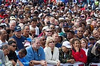 Detroit, Michigan - The crowd at a Labor Day rally waits to hear a speech by President Barack Obama