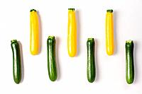 Green and yellow courgettes