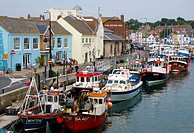 fishing and crabbing boats moored in Weymouth, Dorset