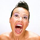 Screaming Brunette Woman