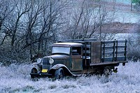Winter frost and old truck in field, Pleasant Valley, Sierra Foothills, El Dorado County, California