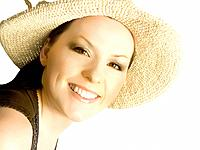 smiling woman, lady in hat isolated on the white background