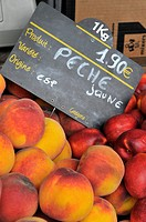 Peaches display market Toulon France French Riviera Mediterranean Europe Harbor