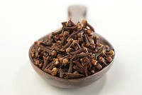 Spices , dried clove buds laung eugenia caryophyllus syzygium aromaticum in wooden ladle on white background