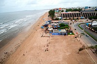 aerial view of juhu beach , Bombay Mumbai , Maharashtra , India
