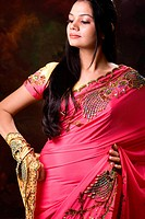 Lady in designer pink sari MR746B
