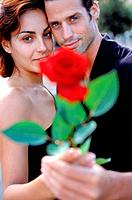 Young couple head to head holding red rose in the hand, medium full shot
