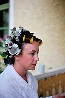 MEDEVI SWEDEN Bride to be has hair in rollers before the wedding