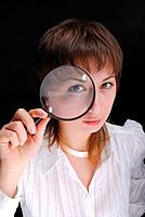 woman and magnifier