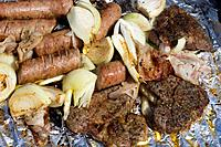 grilled meat sausages and onion