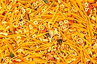 Mixed noodles background
