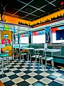 Interior of the Joyland American Family Diner in Great Yarmouth in Norfolk, England
