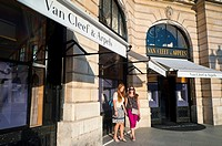 Paris, France, People Shopping on High Street, Van Cleef & Arpels Jewelry Store, Place Vendome
