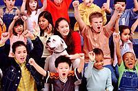 Kids cheering