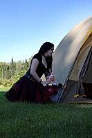 Goth girl camping