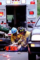 Car accident victim being treated
