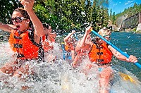 Whitewater rafting the Cabarton section on the North Fork of the Payette River which is rated Class 3 and located near the city of Cascade in central ...