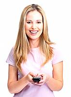 Portrait of a beautiful young lady text messaging on cellphone against white background