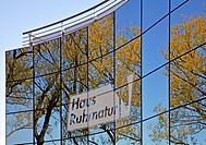 reflections in the glas cladding of House Ruhrnatur in Muelheim/Ruhr, Germany, North Rhine_Westphalia, Ruhr Area, Muelheim an der Ruhr