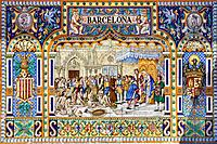 Spain, Europe, Andalucia, Sevilla, City, Spain Square, detail, mosaic, Columbus, America, discovery, mosaic, tradition, tiles,