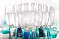 Flute wine glasses with bubbly drink