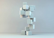Gray patterned cubes stacked together