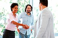 Business woman shaking hands with male partner in the office