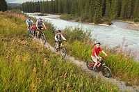 Family Mountain Biking, Alberta, Canada.