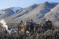 The historic Banff Springs Hotel in the heart of Banff National Park in the Canadian Rocky Mountains, a Canadian Heritage Building , Town of Banff, Al...