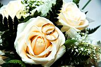 ring on the wedding bouquet