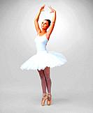 Full length of a beautiful young ballerina dancing against white background _ copyspace