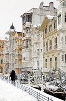 Winter scene of wooden yali houses overlooking the Bosphorus in Arnavutkoy, Turkey, Istanbul