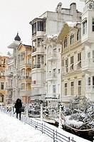 Winter scene of wooden yali houses overlooking the Bosphorus in Arnavutkoy, Turkey, Istanbul