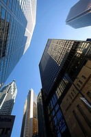Low angle view of Bay Street buildings, Toronto, Ontario, Canada