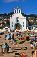 market place in front of the church of San Juan Chamula, Mexico, Chiapas , San Cristbal de las Casas