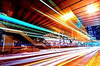light trails in mega city