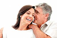 Portrait of a happy mature man sharing some secret with her wife