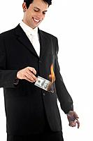 Business Man Burning Money