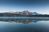 Pyramid Mountain reflected in Patricia Lake, Jasper National Park, Alberta, Canada