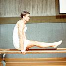 Man doing an exercise at the parallel bars