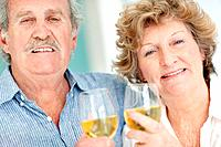 Closeup portrait of a retired old couple holding wine glasses