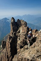 Two climbers ascending the NorthWest ridge of Elkhorn Mountain, Strathcona Park, Central Vancouver Island