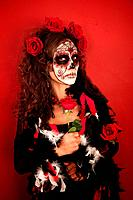 Women With Roses for Dia De Los Muertos