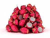 Pile or Heap of Dragon Fruit over white