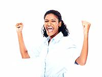 Excited African American business woman celebrating success white clenched fists over white background