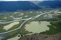 Rapa River delta in Rapa Valley, Sweden, Sarek National Park
