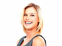 Closeup of cheerful pretty business woman laughing on white background