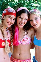 Three teenage girls laughing