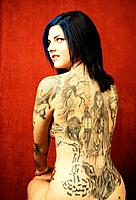 Woman with a tattoo on her back