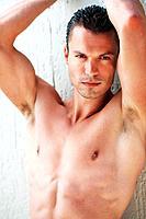 Portrait of masculine man giving sensuous look